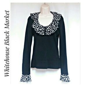WHBM Black Knit Top Leopard Ruffle Collar Size XS